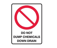 DO NOT DUMP CHEMICALS DOWN..600X450 POLY