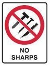 NO SHARPS (INDUSTRIAL) 250X180 SS