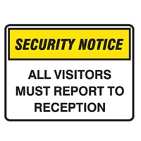 SECURITY SIGN ALL VISITORS..450X300 MTL