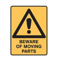 BEWARE OF MOVING PARTS 250X180 SS