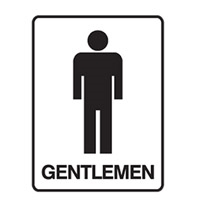 DOOR SIGN GENTLEMEN 180X250 SS