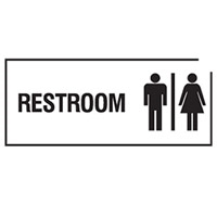 DOOR SIGN RESTROOM 300X125 POLY