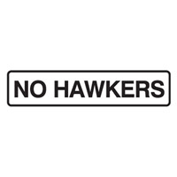 DOOR SIGN NO HAWKERS 200X45 SS PK5