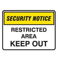 SECURITY SIGN RESTRICTED A..450X300 POLY