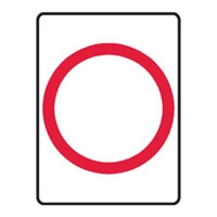 BLANK SAFETY SIGN RED CIRCLE 450X600 POL