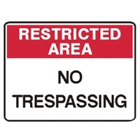 RESTR AREA NO TRESPASS.. 250X180 SS