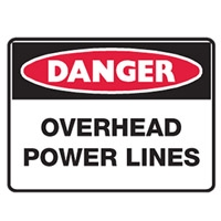 DANGER OVERHEAD POWERLINES 600X450 POLY