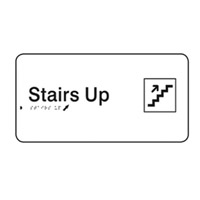Braille Signs - Stairs Up (with Pictogram) - Black On White - Plastic - 330x110