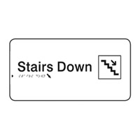 Braille Signs - Stairs Down (with Pictogram) - Black On White - Plastic - 330x110
