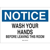 Wash Hands Before Leav.. 450X300 Mtl , Safety Signs, Sold Per Sgn With Qty Of  1
