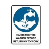Wash Hands Before Leav.. 600X450 Mtl , Safety Signs, Sold Per Sgn With Qty Of  1