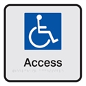 Braille Sign - Wheelchair Access - Black On Silver - Aluminium - 190x190