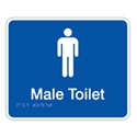 Braille Sign - Male Toilet - White On Blue - Plastic - 230x190