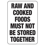 Hygiene & Food Sign Raw And Cooked.. , Safety Signs, Sold Per Sgn With Qty Of  1
