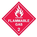 FLAMMABLE GAS 2 LABELS 250MM SS WHT