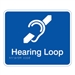 Prem Braille Sign Hearing Loop Wht/Blu , Safety Signs, Sold Per Sgn With Qty Of  1