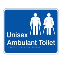 Braille Ambulant Unisex Toilet sign White/Blue