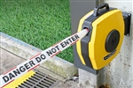 25m. Retractable Barrier Tape Red/White with text DANGER DO NOT ENTER