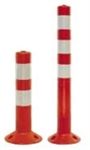 Flexible Orange Bollard 750mm tall w. reflective collars