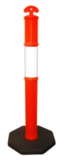 Temporary Bollard with class 1 reflective collar and 6kg heavy duty rubber base