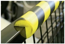 "Polyurethane anti collision strip 1m black and yellow ""V"" Profile"
