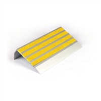 Architectural - Stair Nosing 83 X 37 X 3620mm Natural Anodised With Carborundum Infill - Yellow