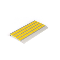 Architectural - Stair Nosing 76 x 10 x 3620mm Natural Anodised with Carborundum Infill - Yellow