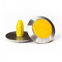 Warning Tactile Indicators Round Yellow Carborundum Infill Pack Of 100 - 316 Stainless Steel