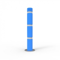 Bollard 140mm Surface Mounted with Skinz Bollard Sleeve and White Reflective Tape - Disability Blue Bollard: D: 140mm H: 1200mm Wt: 25.4kg Wall Thickness: 5mm