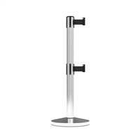 Stanchion Neata Double Belt Post Midline Economy Stainless Steel - Black