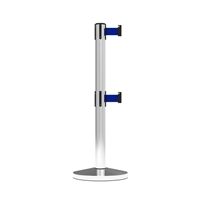 Stanchion Neata Double Belt Post Midline Economy Stainless Steel - Blue