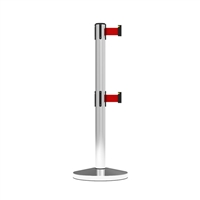 Stanchion Neata Double Belt Post Midline Economy Stainless Steel - Red