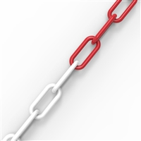 6mm plastic chain - Red-white/roll