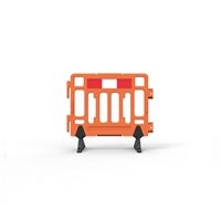 Plastic Fence Barrier With Rubber Foot 1100 X 1000mm - Hi-Vis Orange With Reflective Panels