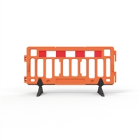 Plastic Fence Barrier With Rubber Foot 2000 X 1000mm - Crowd Control Barrier - Hi-Vis Orange With Reflective Panels