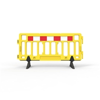 Plastic Fence Barrier With Rubber Foot 2000 X 1000mm - Crowd Control Barrier - Hi-Vis Yellow With Reflective Panels