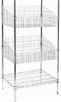 Modular Wire Shelving - Display Basket 530 X 915mm - Zinc Plated And Clear Epoxy Powder Coat