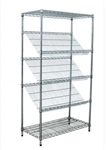 Modular Wire Shelving - Sloping Display Shelf 530 X 1220mm - Zinc Plated And Clear Epoxy Powder Coat