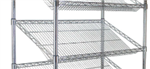 Modular Wire Shelving - Sloping Display Shelf 530 X 1525mm - Zinc Plated And Clear Epoxy Powder Coat