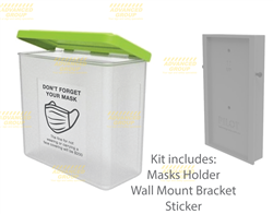 Face Masks Dispenser Kit - with Lid, Wall Mount Bracket & Masks Decal