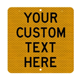 Custom Sign - Black Text on Reflective on aluminium 450x450mm