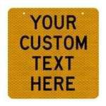 Custom Sign - Black Text on Reflective on aluminium 600x600mm