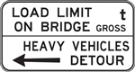 G9-4 1700x900mm Load Limit on Bridge Heavy Vehicles Detour Sign with Left Arrow