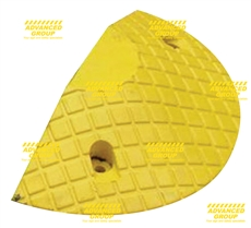 Speed Busters - High Profile HD Rubber Speed Hump Yellow Speed Hump End Cap 210 X 400 X 70mm c/w cable channel 45x45mm