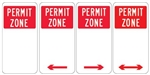 Permit Zone Sign 225x450mm