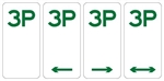 3P 3 hour parking sign 225x450mm