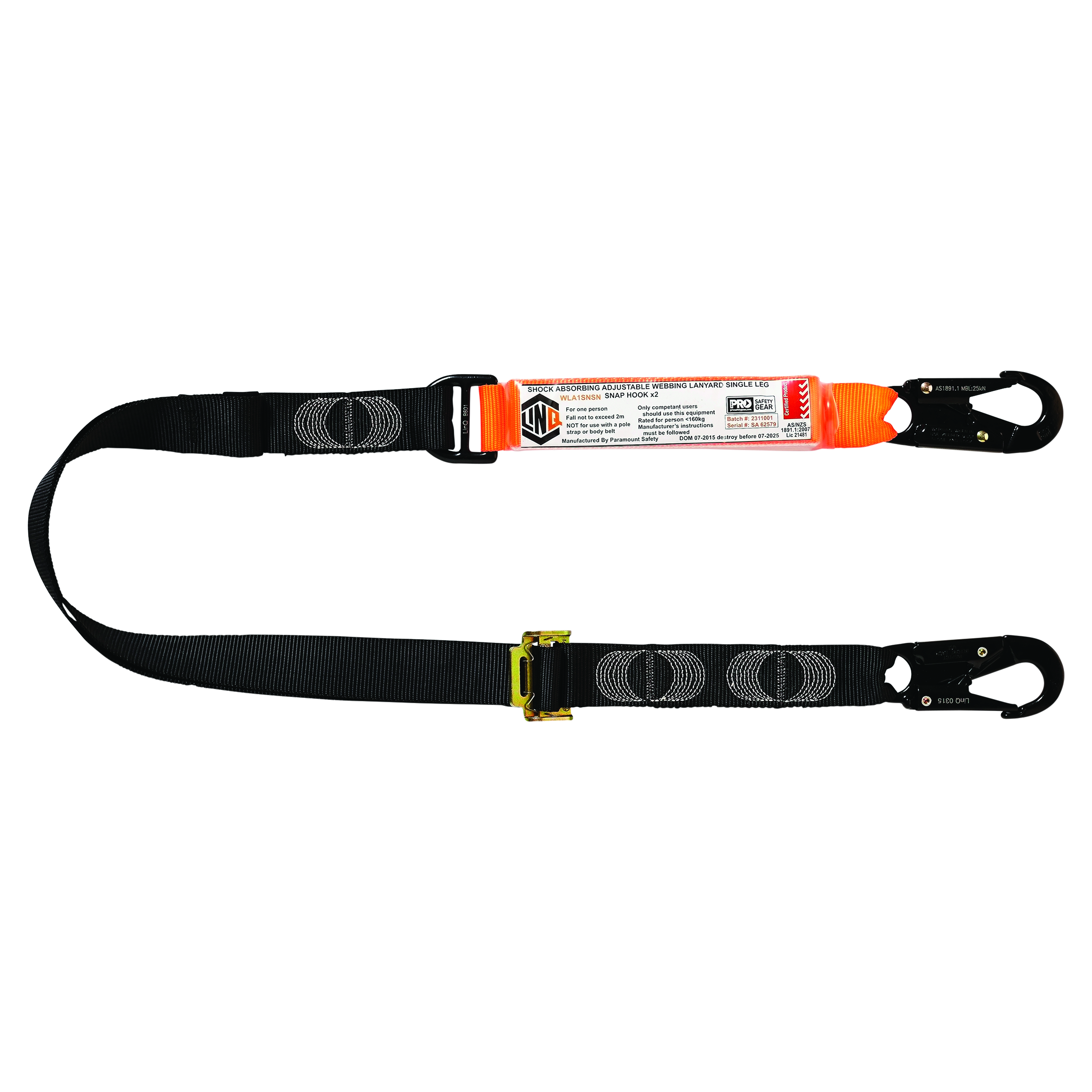 LINQ Single Adjustable Lanyard with 2 x Snap Hooks