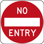 No Entry Sign Reflective on Aluminium