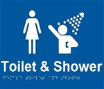 White On Blue - Female Toilet & Shower - Plastic - 210x180