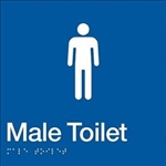 White On Blue - Braille Sign Male Toilet - Plastic - 180x180